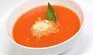 Supa de rosii cu seminte prajite si parmesan